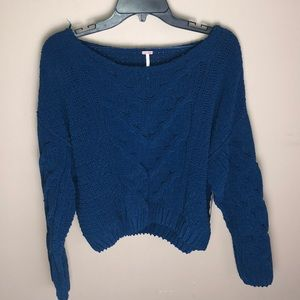 Free People Blue Cable Knit Cropped Sweater